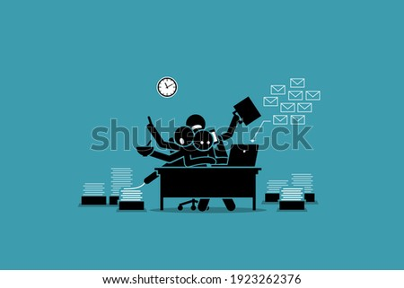 Busy man working in the office and overwhelmed by work. Vector illustration concept of businessman getting exhausted, tired, too much work, overworked, and overtime.  Foto stock ©
