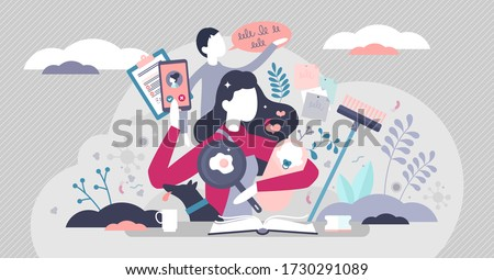 Busy mom vector illustration. Mother routine house works flat tiny persons concept. Multitasking chaos with cooking, kids learning, home cleaning and efficient time management. Task overload scene.