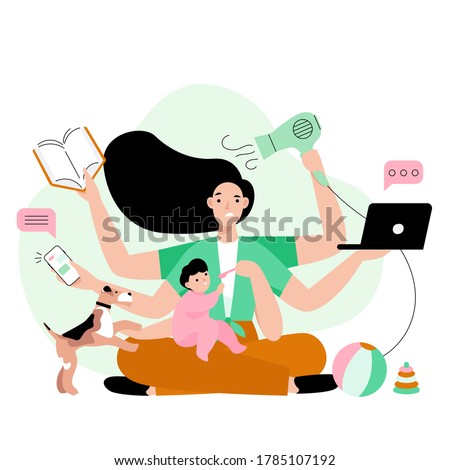 Busy mother doing a lot of work at home. Stressed mom with six hands keeping laptop, book, phone, hairdryer and feeding her child. Multitasking concept vector illustration. Foto stock ©