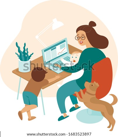 Busy mother working from home with kids and dog. Stay-at-Home Mom. Flat vector illustration
