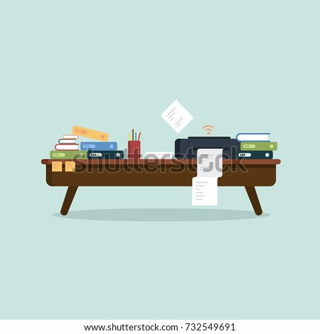 Busy office desk. Table, printer, papers, files, folder, notes and more. Flat Design Vector Illustration