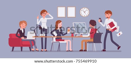 Busy office work. Teamwork and communication between co-workers, friendly environment for productivity and creativity. Vector flat style cartoon business concept illustration