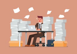 Busy overworked man sitting at table with laptop and pile of papers in office. Vector illustration