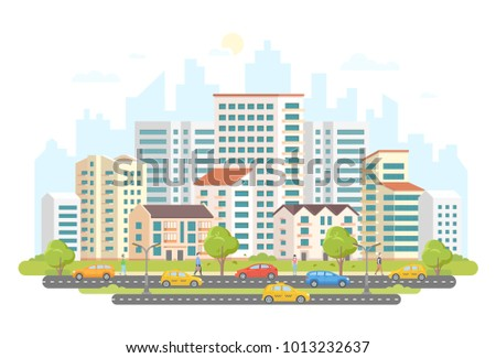 Busy street life - modern colorful flat vector illustration on white background. A housing complex with skyscrapers and small buildings, trees, cars and taxis on the road, a lot of people walking
