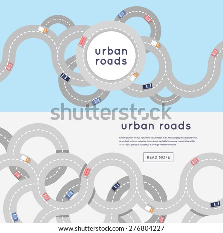 busy urban asphalt roads and