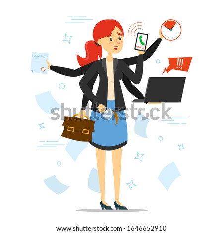 Busy woman trying to do many things at once vector isolated. Stressful multitasking person and deadline. Overworked female character with phone, laptop and documents. Too much work. Сток-фото ©
