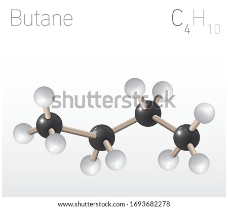 Butane C4H10 Structural Chemical Formula and Molecule Model. Chemistry Education Vector Illustration Stock fotó ©
