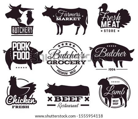 Butcher emblems. Butchery shop labels with animals silhouettes. Beef and pork, chicken and lamb, organic farm meat steakhouse vector restaurant barbecue and cooking shopping stamp set