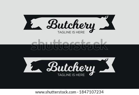Butcher logo design. Logo template for the meat industry - shop, market, restaurant or graphic design. Pig, pork. Cow, beef. Stockfoto ©