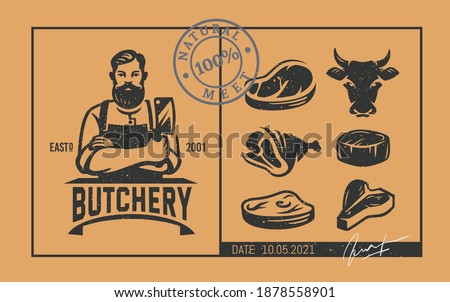 Butcher logo with icons in vintage style Foto stock ©