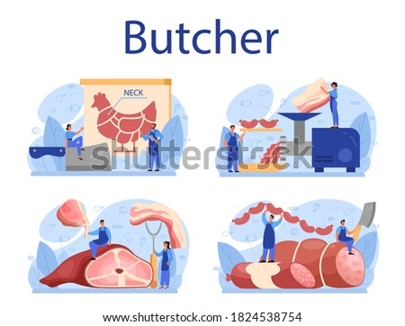 Butcher or meatman concept set. Fresh meat and meat products with ham and sausages, beef and pork. Meat market worker. Isolated vector illustration Foto stock ©