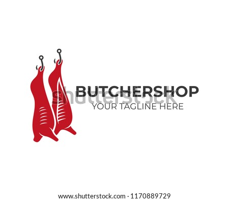 Butcher shop and animal carcasses hang on hooks, logo design. Meal, food and meat, vector design and illustration Сток-фото ©