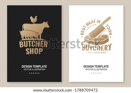 Butcher shop Badge or Label with cow, pig, chicken,beef. Vector illustartion. Vintage typography logo design with cow, pig, chicken,beef silhouette. For poster, flyer, template Stockfoto ©