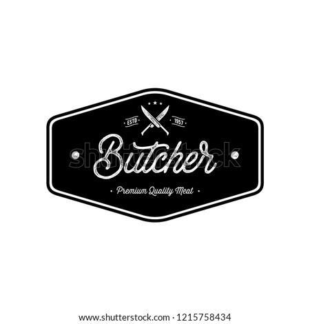 Butcher shop emblem. Butchery store advertising design element. Meat shop typography. Vector vintage illustration.
