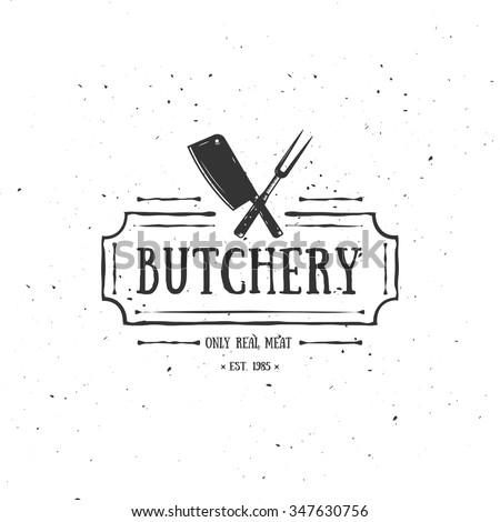 Butcher Shop Emblem. Meat Label, Badge, Logo. Template for shop, cover, sticker, print, banner or business works.
