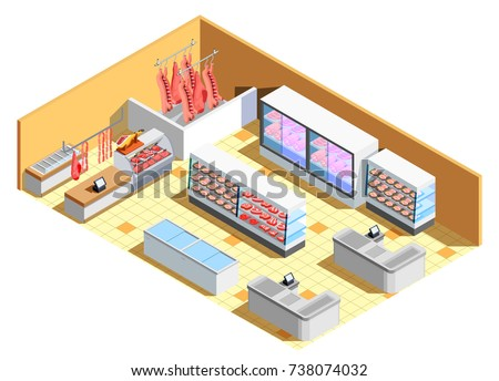Butcher shop interior isometric composition with meat products, refrigerators, counter with showcase, cash desks vector illustration