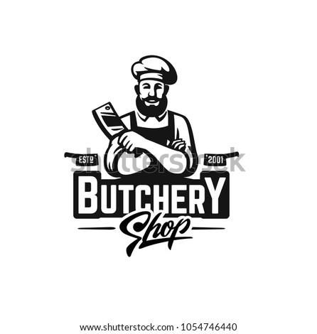 Butcher shop logo emblem for design. Vector illustration.