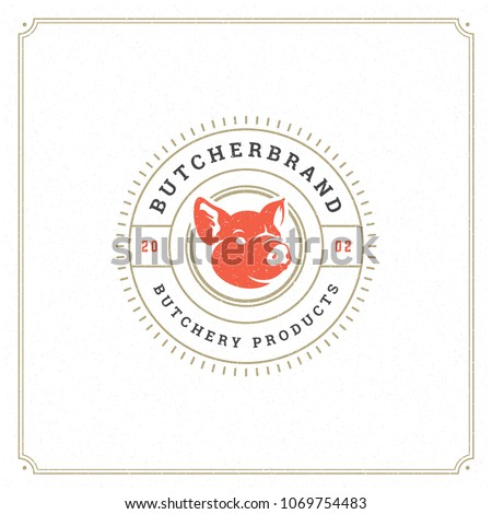 Butcher shop logo vector illustration. Pig head silhouette, good for farm or restaurant badge. Vintage typography emblem design.