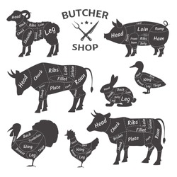 Butcher shop logos. Funny pets, animals. Agricultural meat farmer's market. Diagram butcher pets: turkey, duck, sheep, ram, pig, chicken, cow, rabbit Types of meat schemes for butchering vector