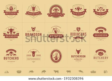 Butcher shop logos set vector illustration good for farm or restaurant badges with animals and meat silhouettes. Retro typography emblems design.