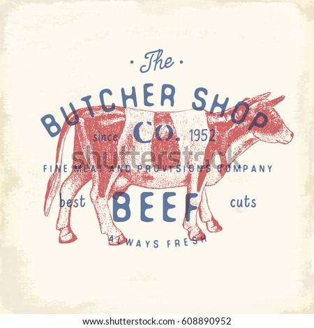 Butcher Shop vintage emblem beef meat products, butchery Logo template retro style. Vintage Design for Logotype, Label, Badge and brand design. vector illustration.