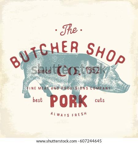 butcher shop vintage emblem