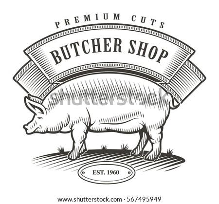 butcher shop vintage logo. all...