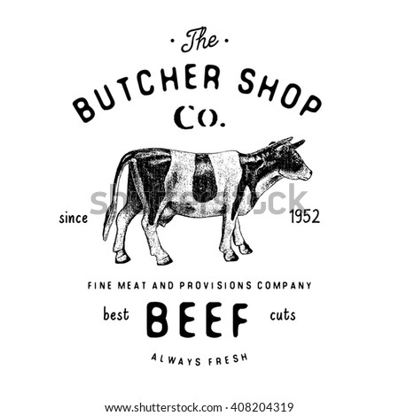 butcher shop vintage logotype