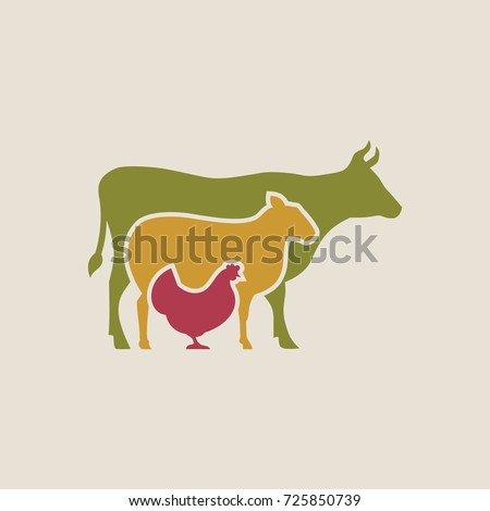 Butcher vector icon, Farm animals vector.