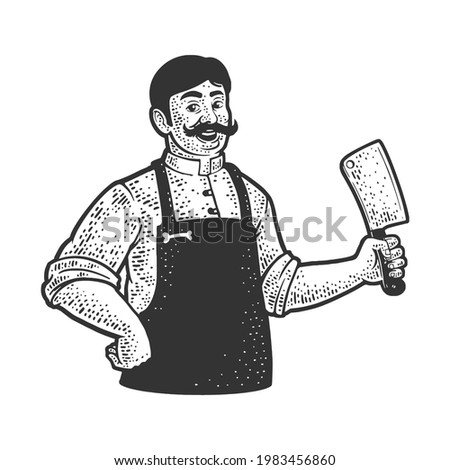 butcher with cleaver knife line art sketch engraving vector illustration. T-shirt apparel print design. Scratch board imitation. Black and white hand drawn image. Stock photo ©
