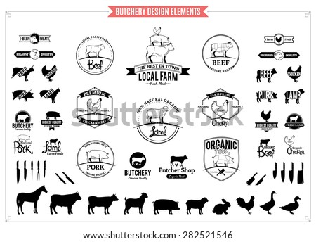 Butchery Logo, Labels, Charts and Design Elements