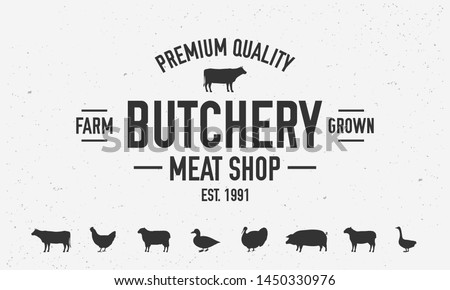 Butchery or meat shop vintage logo template. Set of 7 farm animals icons. BBQ poster with cow silhouette. Vector illustration Stockfoto ©