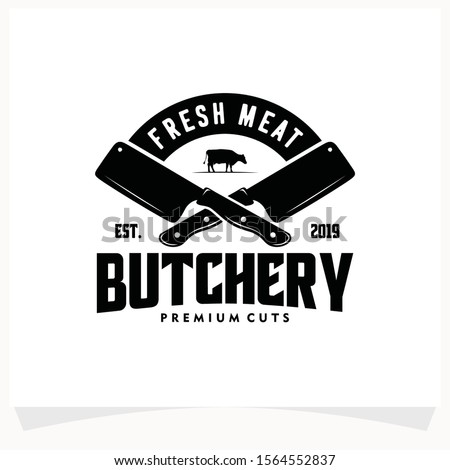 Butchery Shop Logo Design Template. Cow and meat cleaver knife vector design. Stockfoto ©
