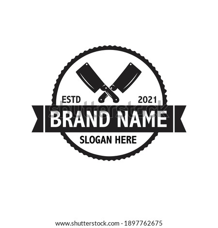 Butchery Shop Logo Design Template. Cow and meat cleaver knife vector design.  Stock photo ©