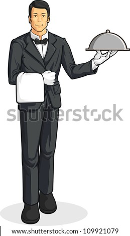 Butler or Waiter Serving Tray of Food