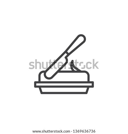 Butter bar and knife line icon. linear style sign for mobile concept and web design. Knife cut butter outline vector icon. Natural dairy product symbol logo illustration. Pixel perfect vector graphics