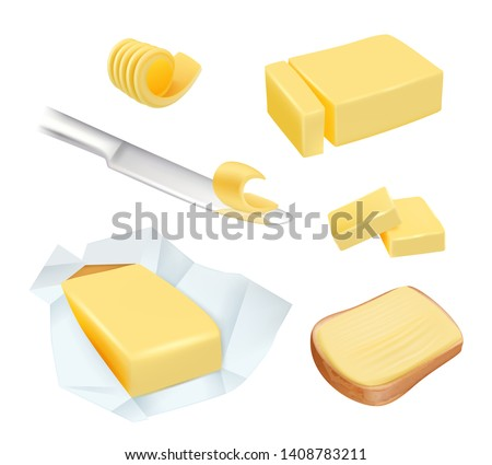 Butter. Calorie product margarine or milk butter blocks dairy breakfast food vector pictures. Illustration of natural margarine or butter product, ingredient of food milk