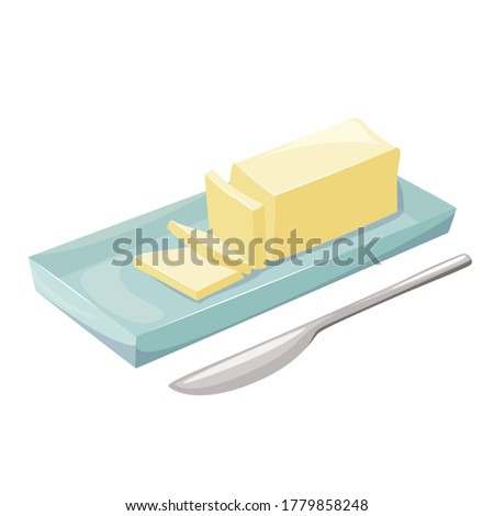 Butter in a butter dish, natural dairy product. Spread or cooking fresh fat. Vector butter flat style cartoon illustration isolated on white background