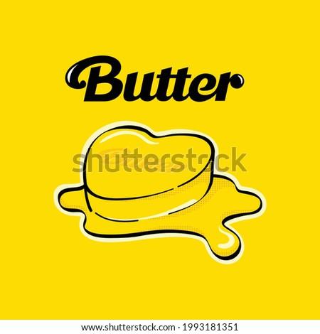butter melt with text vector design