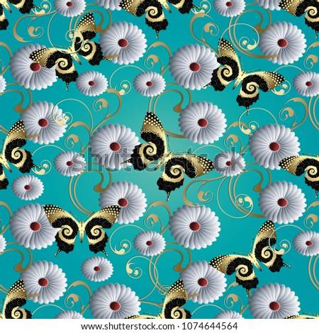 butterflies and flowers 3d