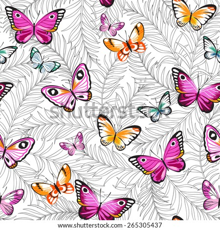 Butterflies and flowers exotic pattern, graphic background