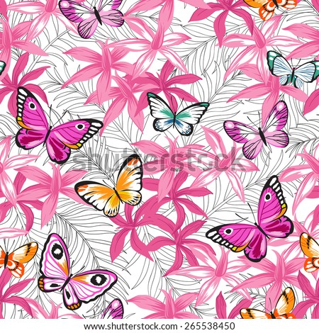 Butterflies and flowers exotic pattern, graphic background.
