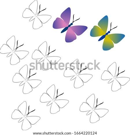 butterfliesblack outline  two