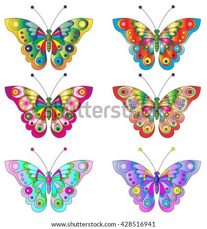 Butterflies. Cute butterflies vector set
