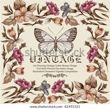 Butterflies. Flowers. Vector. Vintage floral frame.