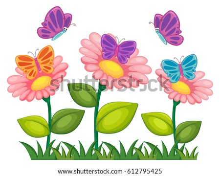 Butterflies flying in flower garden illustration