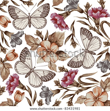 Butterflies moths insects animals fly pattern Apple carnation baroque textile Engraving drawing Beautiful realistic flowers Vintage background. Wallpaper Wildflowers Vector victorian illustration