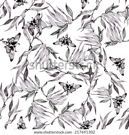 Butterflies picture seamless pattern with leaflets on white background vector illustration