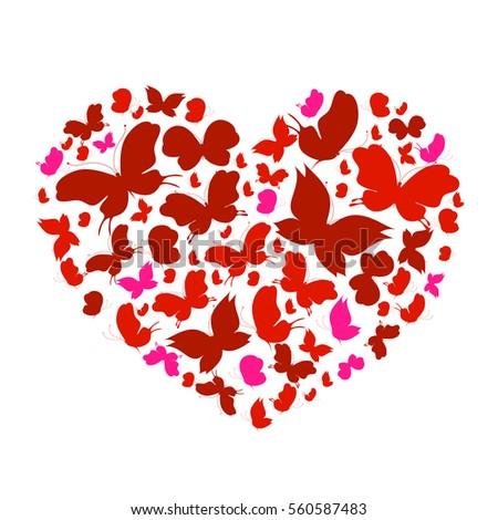 butterflies red  heart  on a