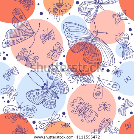 butterflies seamless pattern in